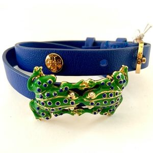 TORY BURCH Kissing Frogs Green Enamel Blue Leather